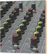 Audio Mixing Board Console Wood Print
