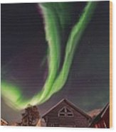 Aurora Borealis, Norway Wood Print