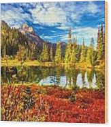 Autumn Comes To The Lake And Mountains Wood Print