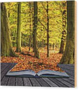 Autumn Fall Forest Landscape Magic Book Pages Wood Print