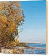 Autumn On The Dnieper River Wood Print