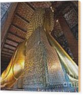 Back View Of Reclining Buddha Wood Print