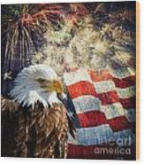 Bald Eagle And Fireworks Wood Print by Michael Shake