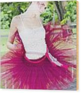 Ballerina Stretching And Warming Up Wood Print