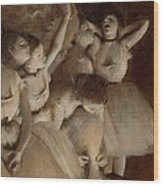 Ballet Rehearsal On Stage Wood Print by Edgar Degas
