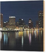 Baltimore Skyline At Dusk On The Inner Harbor Wood Print