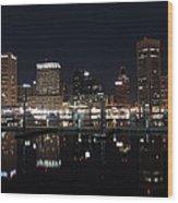 Baltimore Skyline At Night Wood Print
