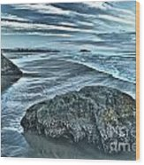 Bandon Beach Swirls Wood Print