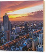 Bangkok City Skyline Sunset Wood Print