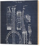 Banjo Patent Drawing From 1882 - Blue Wood Print