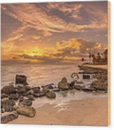 Barbers Point Light House Sunset Wood Print