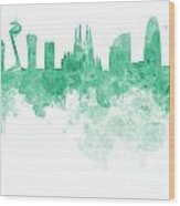 Barcelona Skyline In Watercolour On White Background Wood Print