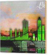 Barcelona Spain Skyline Watercolor Wood Print