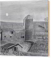 Barn And Silo Wood Print