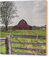 Barn By A Fence Wood Print