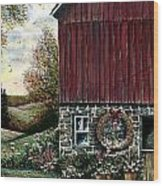 Barn Wreath Wood Print