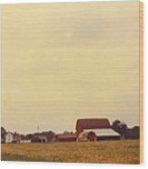 Barns And Landscape Wood Print