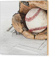 Baseball And Mitt Wood Print