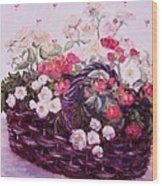 Basket Of Baby Roses Wood Print