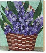 Basket Of Hyacinths  Wood Print