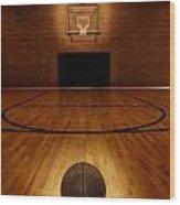 Basketball And Basketball Court Wood Print by Lane Erickson
