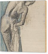 Bather Drying Herself Wood Print