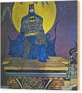 Batman On The Roof Top Wood Print
