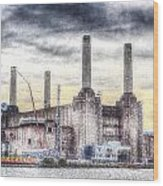 Battersea Power Station London Snow Wood Print