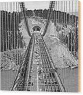 Bay Bridge Under Construction Wood Print