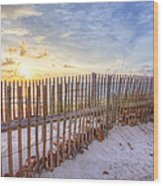 Beach Fences Wood Print