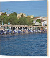 Beach In Aegina Town Wood Print