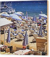 Beach In Cannes Wood Print