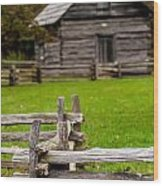 Beautiful Autumn Scene Showing Rustic Old Log Cabin Surrounded B Wood Print