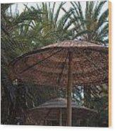 Beautiful Beach With Palm Trees Wood Print