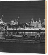Beautiful Black And White Image Of London City At Night With Lov Wood Print