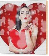 Beautiful Girl In A Bright Love Romance Wood Print