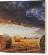 Beautiful Hay Bales Sunset Landscape Digital Painting Wood Print by Matthew Gibson