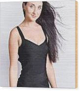 Beautiful Model With Long Straight Brunette Hair Wood Print