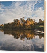 Beautiful Sunset Over Autumn Fall Lake With Crystal Clear Reflec Wood Print by Matthew Gibson