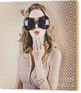 Beautiful Surprised Girl Wearing Big Sunglasses Wood Print