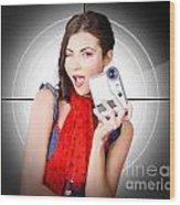 Beautiful Woman Holding Home Video Camera Wood Print