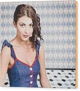 Beautiful Young Brunette Pin-up Woman  Wood Print