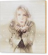 Beautiful Young Woman Blowing Snow In Winter Style Wood Print