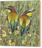 Bee-eaters Wood Print