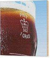 Beer Pint Glass Wood Print