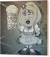 Beer Stein Dirndl Oktoberfest Cartoon Woman Grunge Monochrome Wood Print