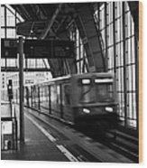 Berlin S-bahn Train Speeds Past Platform At Alexanderplatz Main Train Station Germany Wood Print
