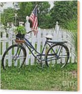 Bicycle And White Fence Wood Print