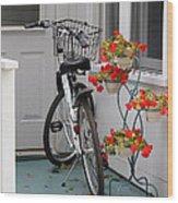 Bicycles And Geraniums Wood Print
