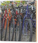 Bicycles In Amsterdam Wood Print